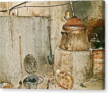 Cassava Root Winemaking Setup On Road To Tho Ha Village-vietnam Canvas Print by Ruth Hager