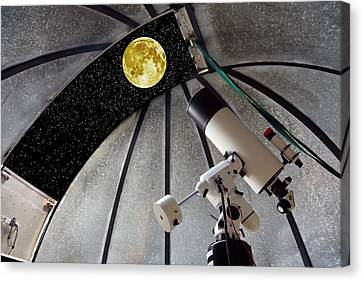 Cassegrain Telescope And Moon Canvas Print by Victor De Schwanberg