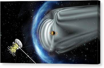 Cassini And Saturn's Magnetic Field Canvas Print by Esa