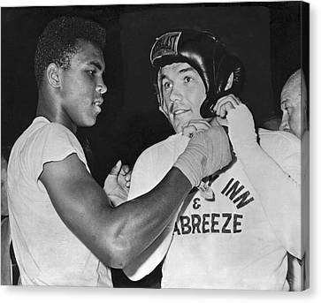 Cassius Clay And Johansson Canvas Print by Underwood Archives