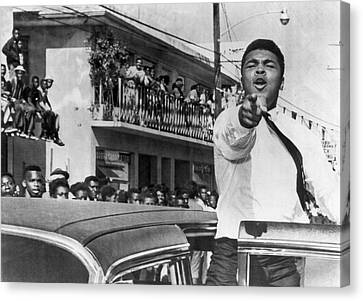 Cassius Clay In Football Parade Canvas Print by Underwood Archives