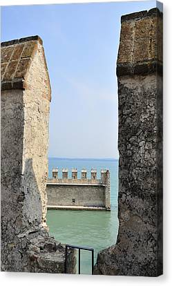 Turquois Water Canvas Print - Castello Scaligero Castle Sirmione Italy by Matthias Hauser