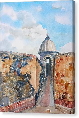 Castillo De San Cristobal Sentry Door Canvas Print by Carlin Blahnik