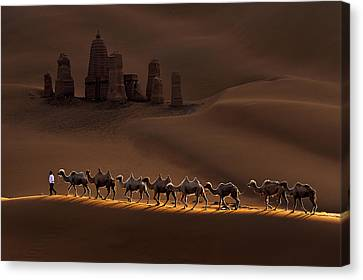Castle And Camels Canvas Print by Mei Xu