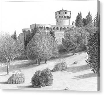 Castle At Volterra Canvas Print by Diane Cardaci