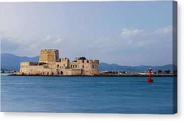 Castle Bourtzi And Buoy Canvas Print by David Waldo