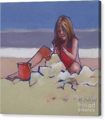 Castle Buiilding Sandcastles On The Beach Canvas Print by Mary Hubley