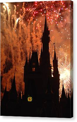 Canvas Print featuring the photograph Castle Fire Show by David Nicholls