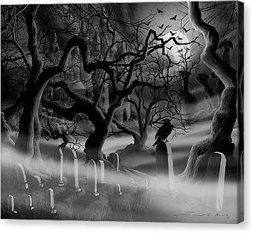 Headstones Canvas Print - Castle Graveyard by James Christopher Hill