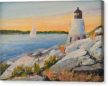 Castle Hill Light House Newport Ri Canvas Print by Patty Kay Hall