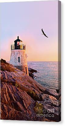 Canvas Print featuring the photograph Castle Hill Lighthouse 2 Newport by Marianne Campolongo