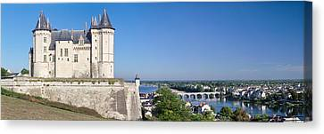 Castle In A Town, Chateau De Samur Canvas Print by Panoramic Images