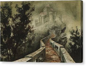 Castle In The Mist Canvas Print by Sam Sidders