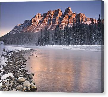 Castle Mountain And The Bow River Canvas Print