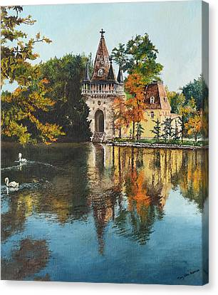 Castle On The Water Canvas Print by Mary Ellen Anderson