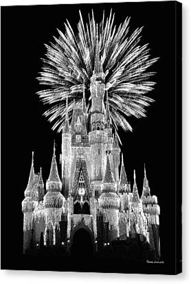 Castle With Fireworks In Black And White Walt Disney World Canvas Print by Thomas Woolworth