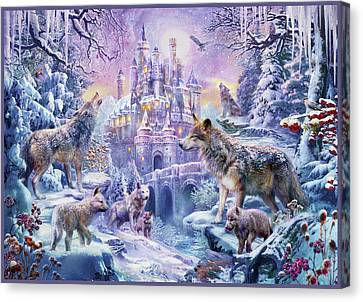Castle Wolves Canvas Print