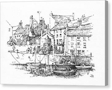Canvas Print featuring the drawing Castletown Harbour by Paul Davenport