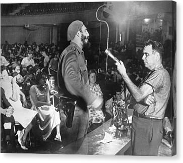 Castro Interviews Insurgents Canvas Print by Underwood Archives