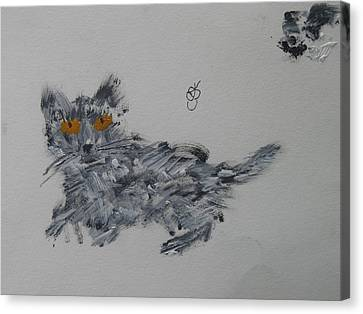 Canvas Print featuring the painting Cat by AJ Brown