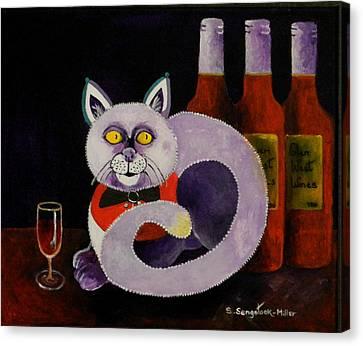 Red Cat Wine Canvas Print - Cat-alcoholic Bar Cat by Sandra Sengstock-Miller
