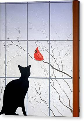 Cat And Cardinal Canvas Print by Karyn Robinson