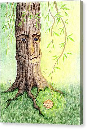 Canvas Print featuring the drawing Cat And Great Mother Tree by Keiko Katsuta