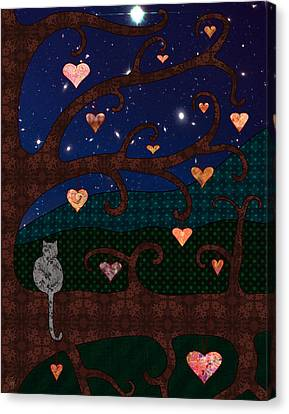 Cat And Hearts In Tree At Night Canvas Print by Cat Whipple