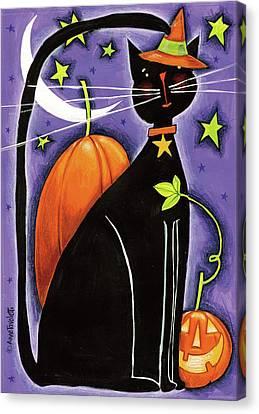 Cat And Pumpkins Canvas Print by Anne Tavoletti