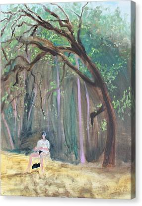 Cat And Reading Man Under A Bay Tree Canvas Print by Asha Carolyn Young