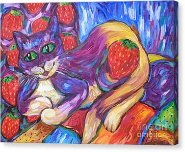 Canvas Print featuring the painting Cat And Strawberries by Dianne  Connolly