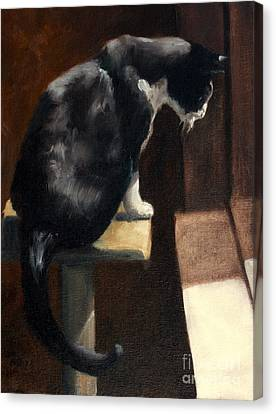 Cat At A Window With A View Canvas Print by Lisa Phillips Owens