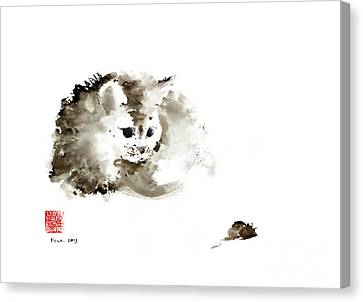 Cat Brown Grey Black Mouse Kitten Play Animal Animals Pet Pets Watercolor Painting Canvas Print by Johana Szmerdt