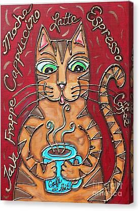 Cat Cafe Au Lait Canvas Print