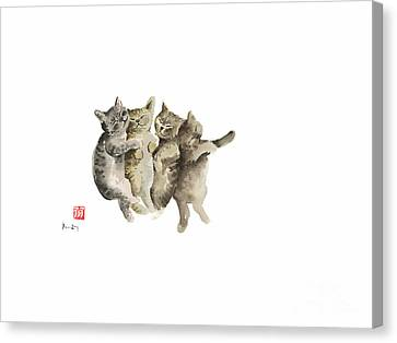 Cat Cats Photo Picture Brown Gray Little Funny Pic Meow Watercolor Painting Canvas Print