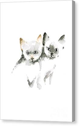 Cat Cats Photo Picture Brown Gray Little Funny Twins Pic Meow Watercolor Painting Canvas Print