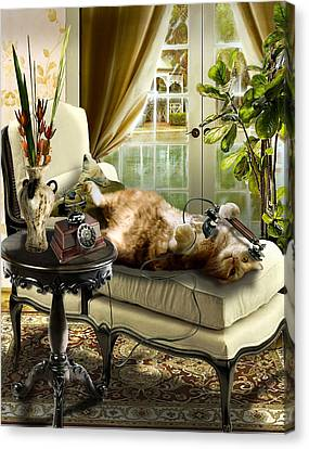 Funny Pet Talking On The Phone  Canvas Print