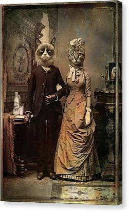 Corset Canvas Print - Cat Couple by