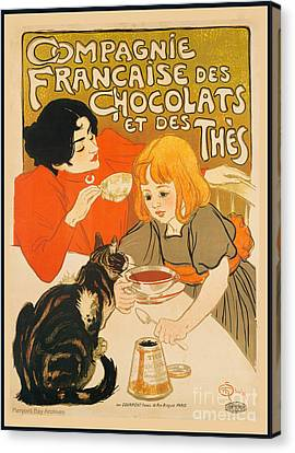 Cat Enjoys Chocolates And Tea Canvas Print by Pierpont Bay Archives