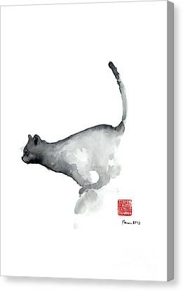 Cat Grey Black Blue Navy Funny Kitten Jump Meow Watercolor Painting Canvas Print