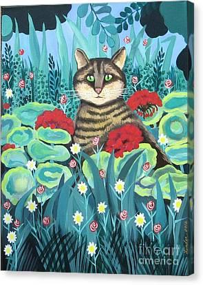 Cat Hiding In The Rainforest Canvas Print