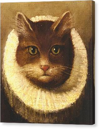 Cat In A Ruff Canvas Print by Vintage Art