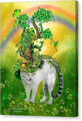 Cat In Blarney Garden Hat Canvas Print by Carol Cavalaris