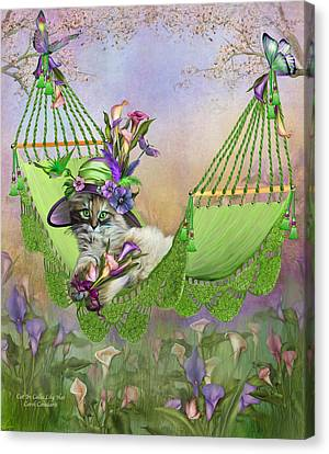 Cat In Calla Lily Hat Canvas Print