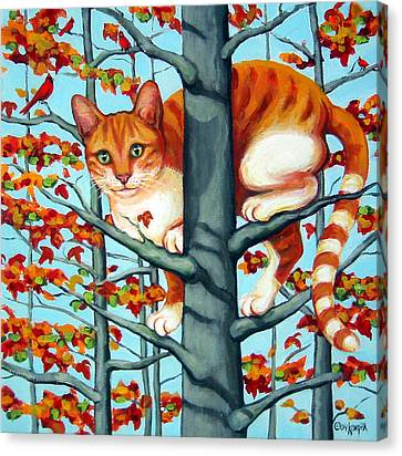 Orange Cat In Tree Autumn Fall Colors Canvas Print