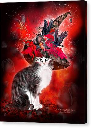 Cat In Fancy Witch Hat 1 Canvas Print by Carol Cavalaris