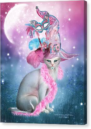 Cat In Fancy Witch Hat 4 Canvas Print by Carol Cavalaris