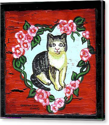 Cat In Heart Wreath 1 Canvas Print by Genevieve Esson