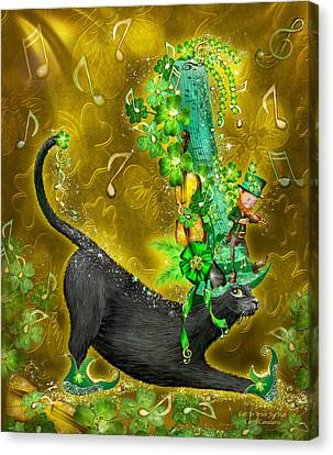 Cat In Irish Jig Hat Canvas Print by Carol Cavalaris