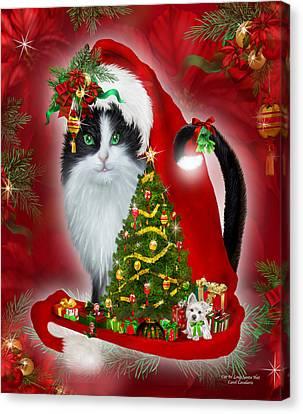 Cat In Long Santa Hat Canvas Print by Carol Cavalaris